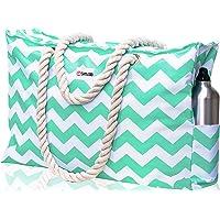 SHYLERO Beach Bag XXL. Waterproof (IP64). L22 xH15 xW6 w Cotton Rope Handles, Top Zipper, Outside Pockets. Beach Tote…