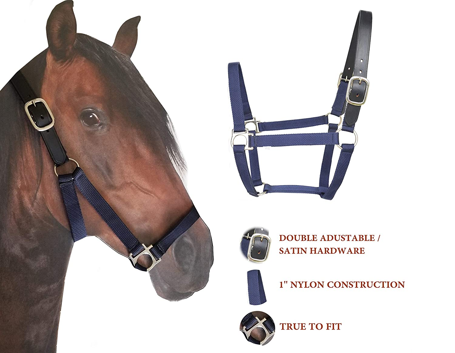 Large Horse//Draft SIE Westride Nylon Breakaway Horse Halter Leather Crown//Safety Halter Navy Blue