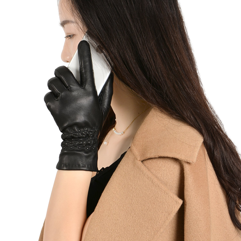 GSG Womens Touchscreen Italian Genuine Nappa Leather Gloves Lady Driving Gloves Smart Full Palm Winter Black,Medium