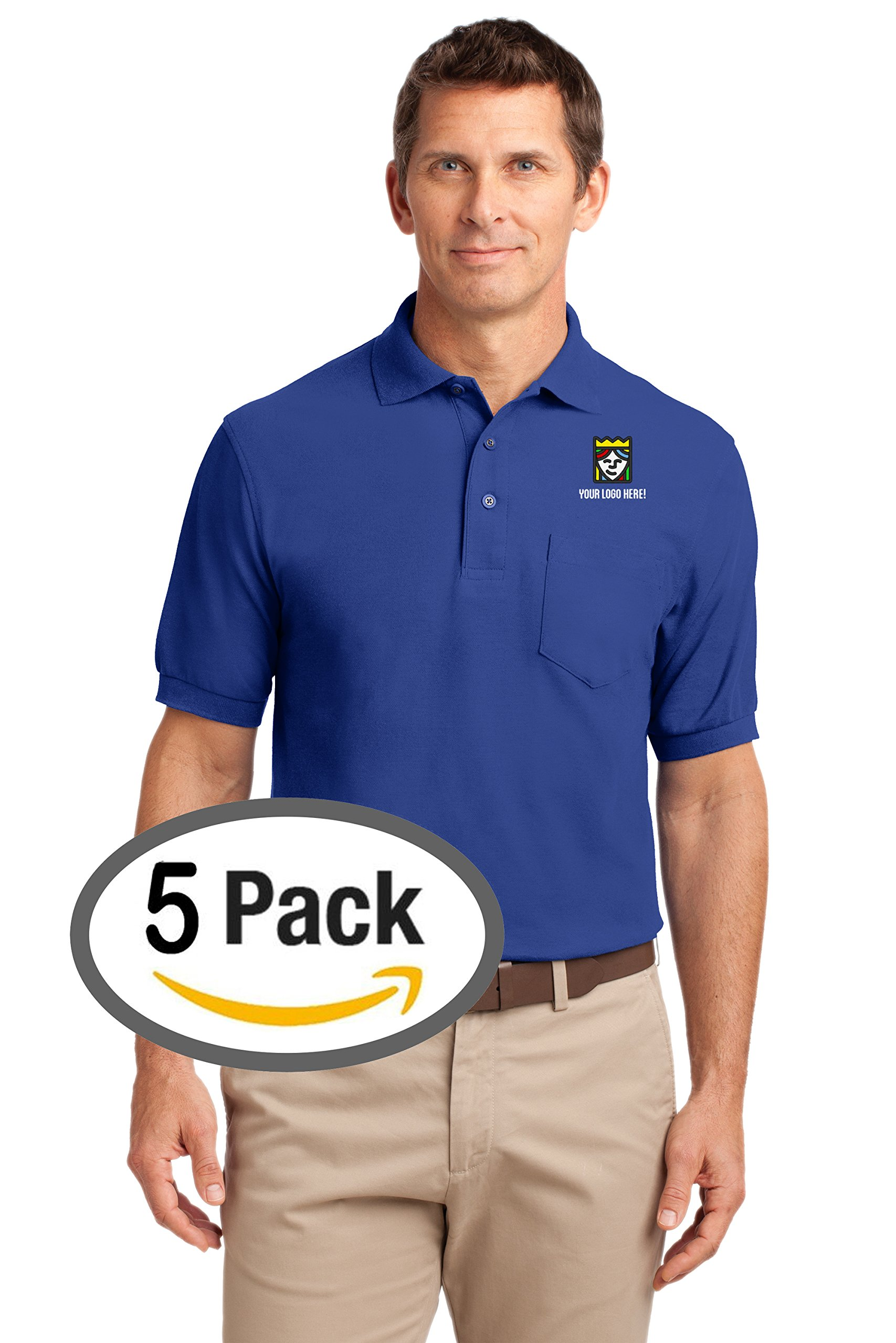 Queensboro Shirt Company Custom Embroidered Port Authority Tall Silk Touch Pocket Polos – Pack Of 5