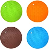 4PCS Multipurpose Silicone Drying Mat, Silicone Pot Holders, Trivets, Jar Openers, Non Slip Heat Resistant Hot Pads (Round)