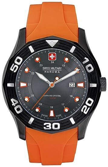 Swiss Military 06-4170.30.009.79 - Reloj analógico de cuarzo para hombre con correa de plástico, color naranja: Swiss Military Hanowa: Amazon.es: Relojes