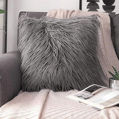 Phantoscope Set of 2 Grey Decorative New Luxury Series Merino Style Fur Throw