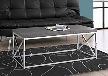 Stupendous Monarch Specialties Coffee Table Modern Cocktail Table With Metal Base 44 L Grey Chrome Cjindustries Chair Design For Home Cjindustriesco