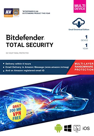 BitDefender Total Security Latest Version (Windows / Mac / Android / iOS) -  1 Device, 1 Year (Email Delivery in 2 hours - No CD)
