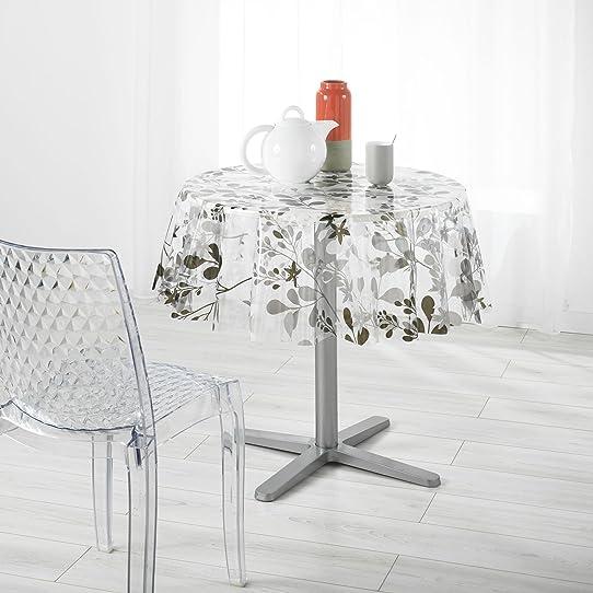 direktshop24 nappe outdoor toile cire feuilles et fleurs en transparent - Toile Ciree Pour Table De Jardin