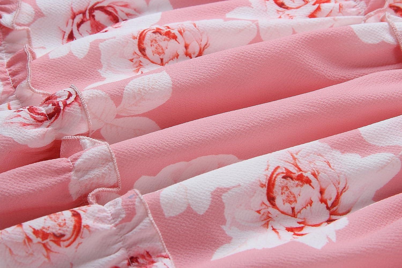 ECOWISH Damen Kleid Blumenkleid Sommerkleider Spaghetti-B/ügel Bowknot R/ückenfrei A-Linie Kleider