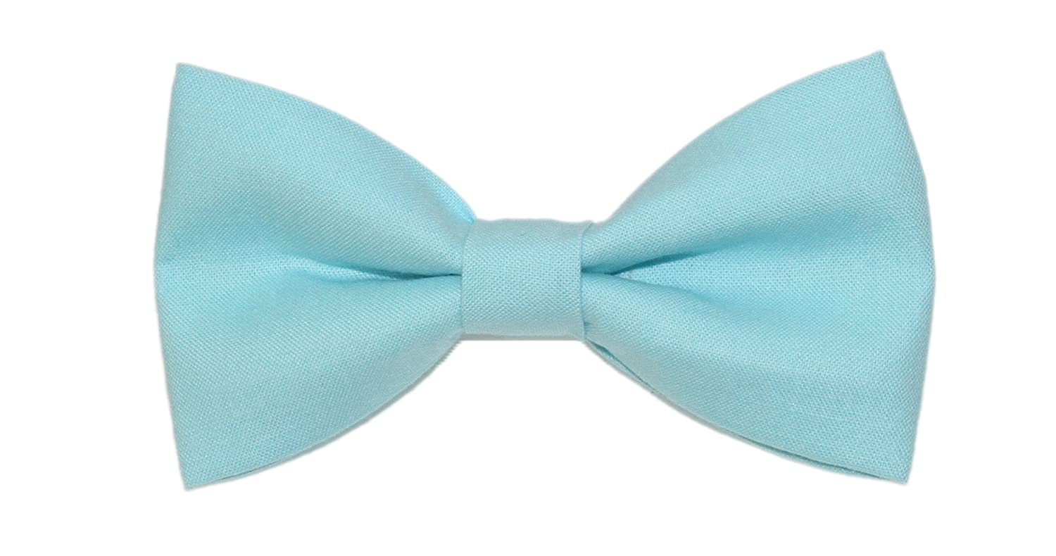 Mens Robins Egg Blue Pre-Tied Cotton Bow Tie On Adjustable Twill Strap