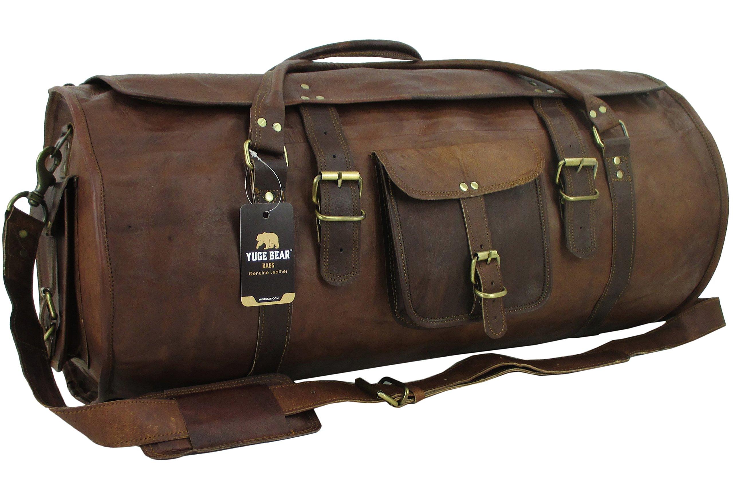 Yuge Bear 28'' FR1 Genuine Leather Extra Large Flap Barrel Duffel Travel Bag