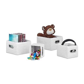 Relaxdays Aufbewahrungskörbe 4er Set, Korb-Optik, robust,  Aufbewahrungsboxen für Bad, Kunststoff, als Regalkorb, weiß