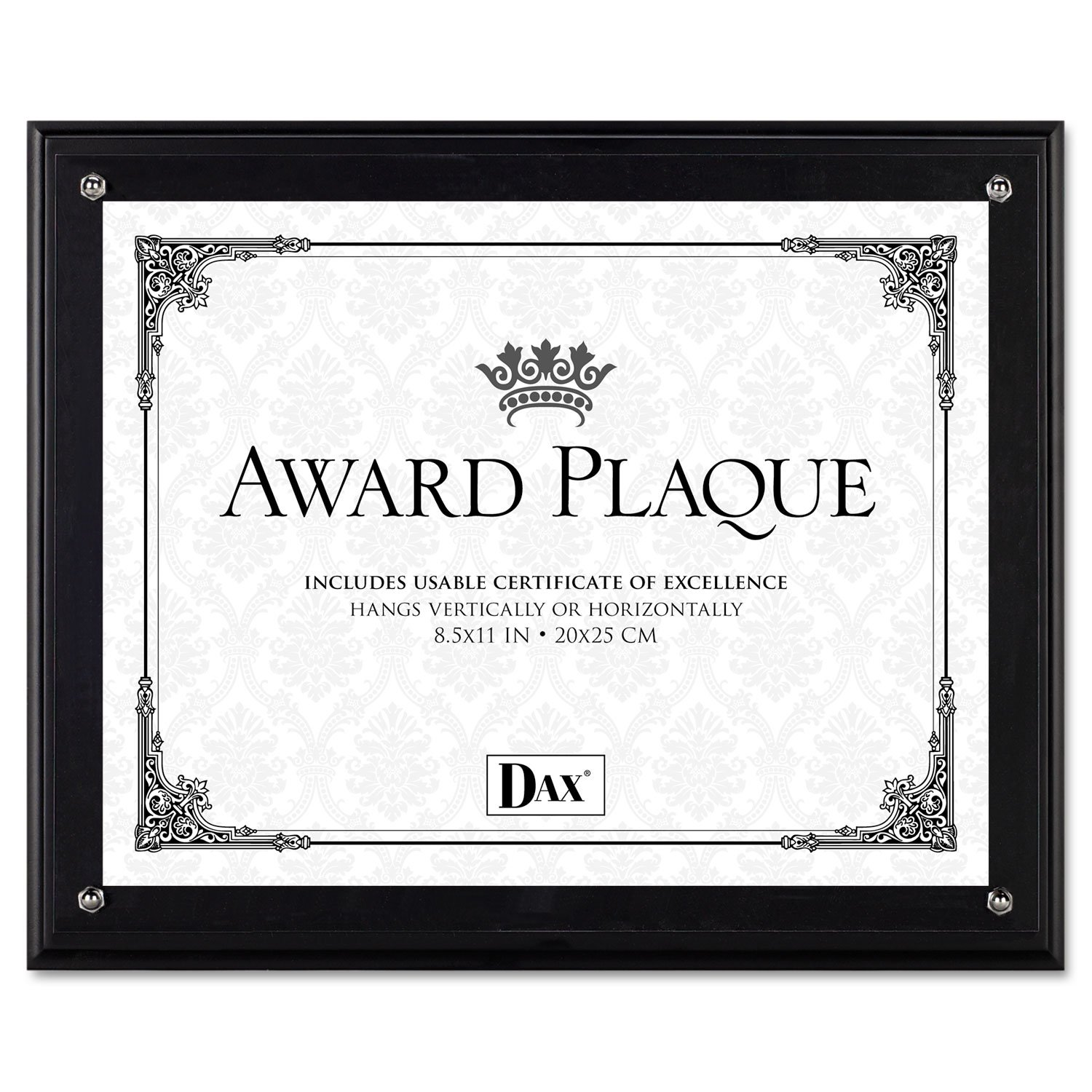 DAX N15908NT Award Plaque, Wood/Acrylic Frame, Up to 8 1/2 x 11, Black