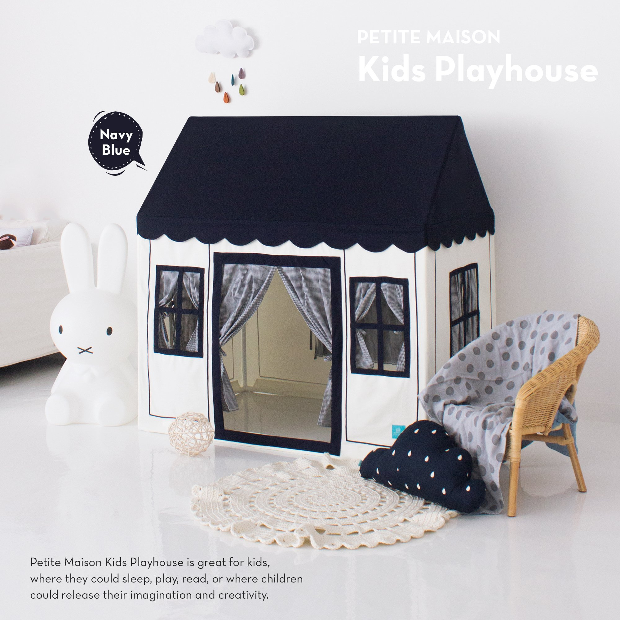 Kids Play House Tent, [Petite Maison] Hand Made Premium Quality Playhouse for Indoor & Outdoor, Light, Easy Assembly - Navy Blue