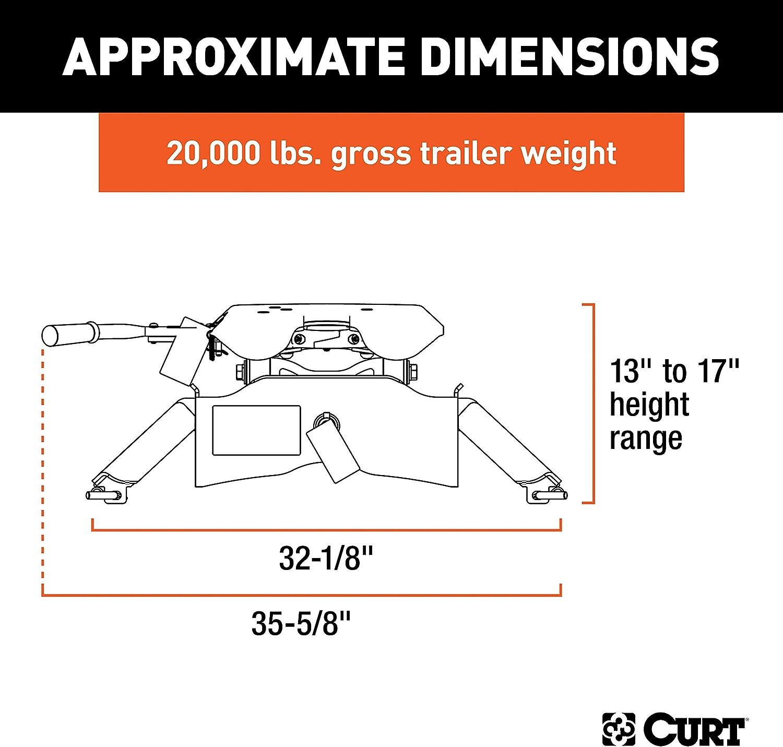 20,000 lbs CURT 16140 Black A20 5th Wheel Hitch