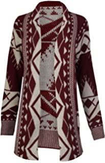8878fd6791 NAZ Fashion Womens Aztec Tribal Leopard and Heart Print Knitted Boyfriend  Cardigan (Wine