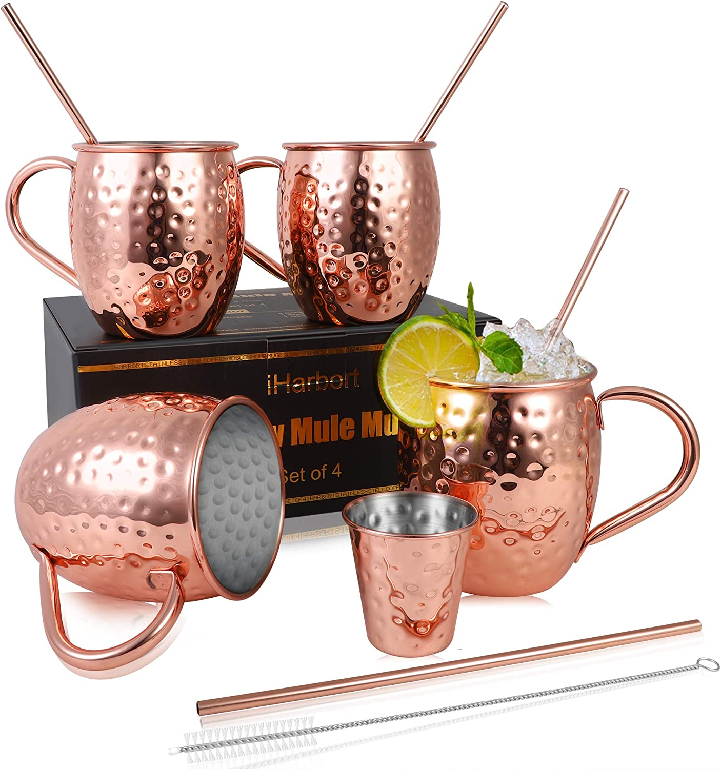 Moscow Mule Mugs / Beer Glasses, Set of 4, 16 oz, HandCrafted Food Safe Pure Solid Beer Mugs Wine Tumbler Cups Glasses, Gift Set With Cocktail Copper Straws, Shot Glass, Straw Brush, Rose Gold