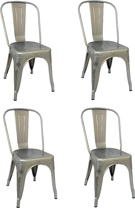 La Silla Española - Pack 4 Sillas estilo Tolix con respaldo. Color Gris Industrial. Medidas 85x54x45,5: Amazon.es: Hogar