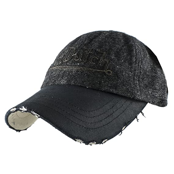 Authentic Von Dutch Striped Wool Casual Baseball Cap Adjustable Hat - Black 97291bed6673