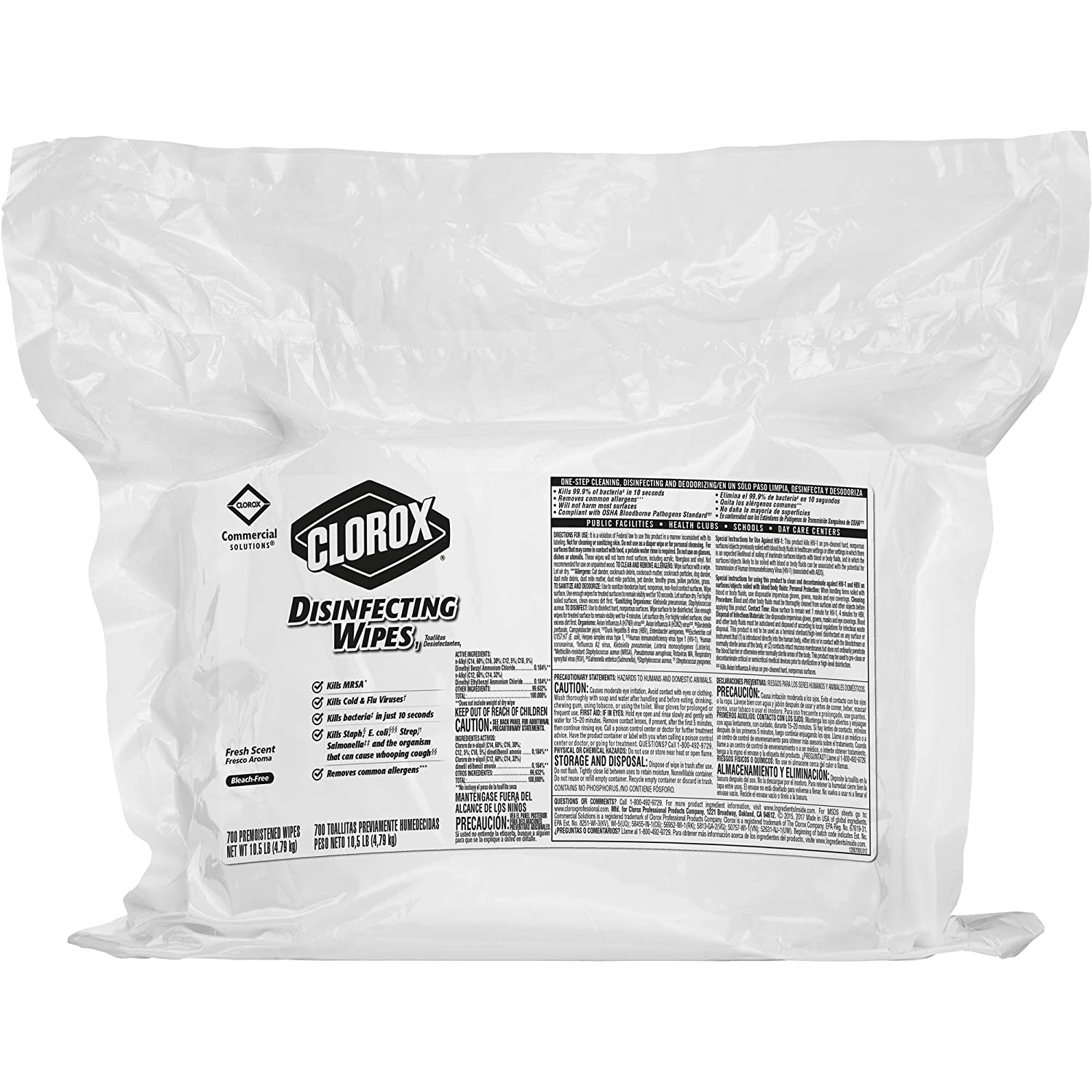 Clorox Commercial Solutions Clorox Disinfecting Wipes Fresh Scent  700 Wipes 2 RefillsCase 31428