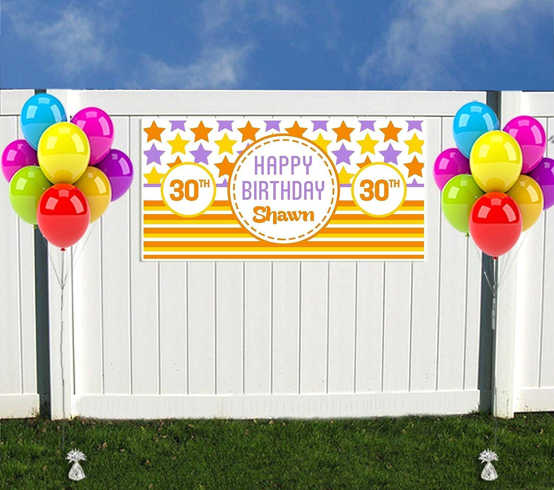 Purple and Yellow Birthday Banner Orange