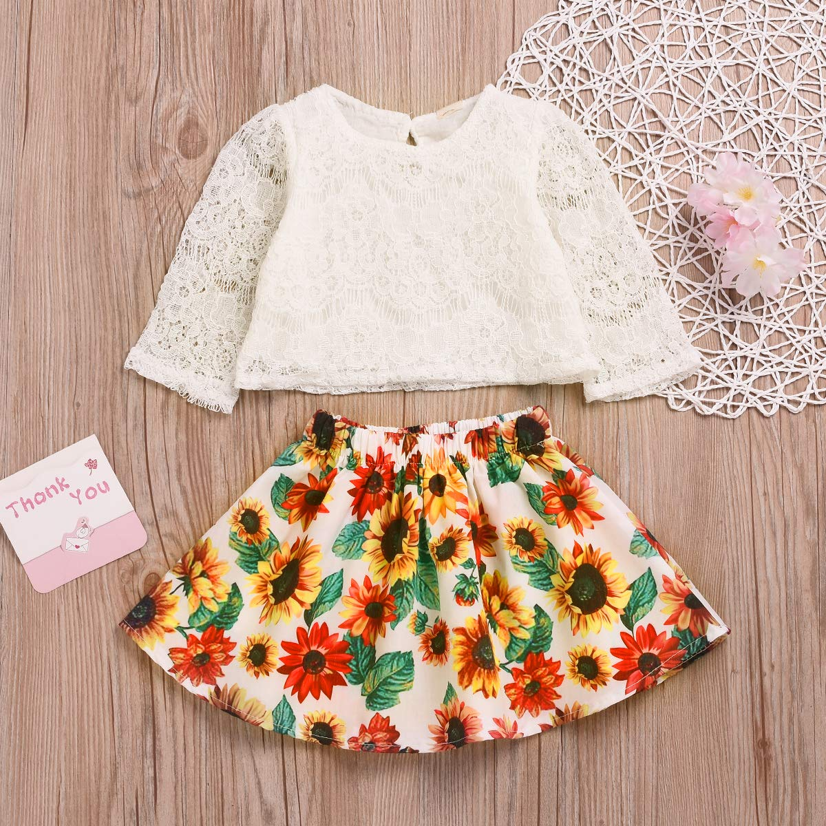 yiquanquan Toddler Kid Baby Girls Lace Tops T-Shirt Sunflower Mini Skirt Dress Sundress Outfit Set 2Pcs