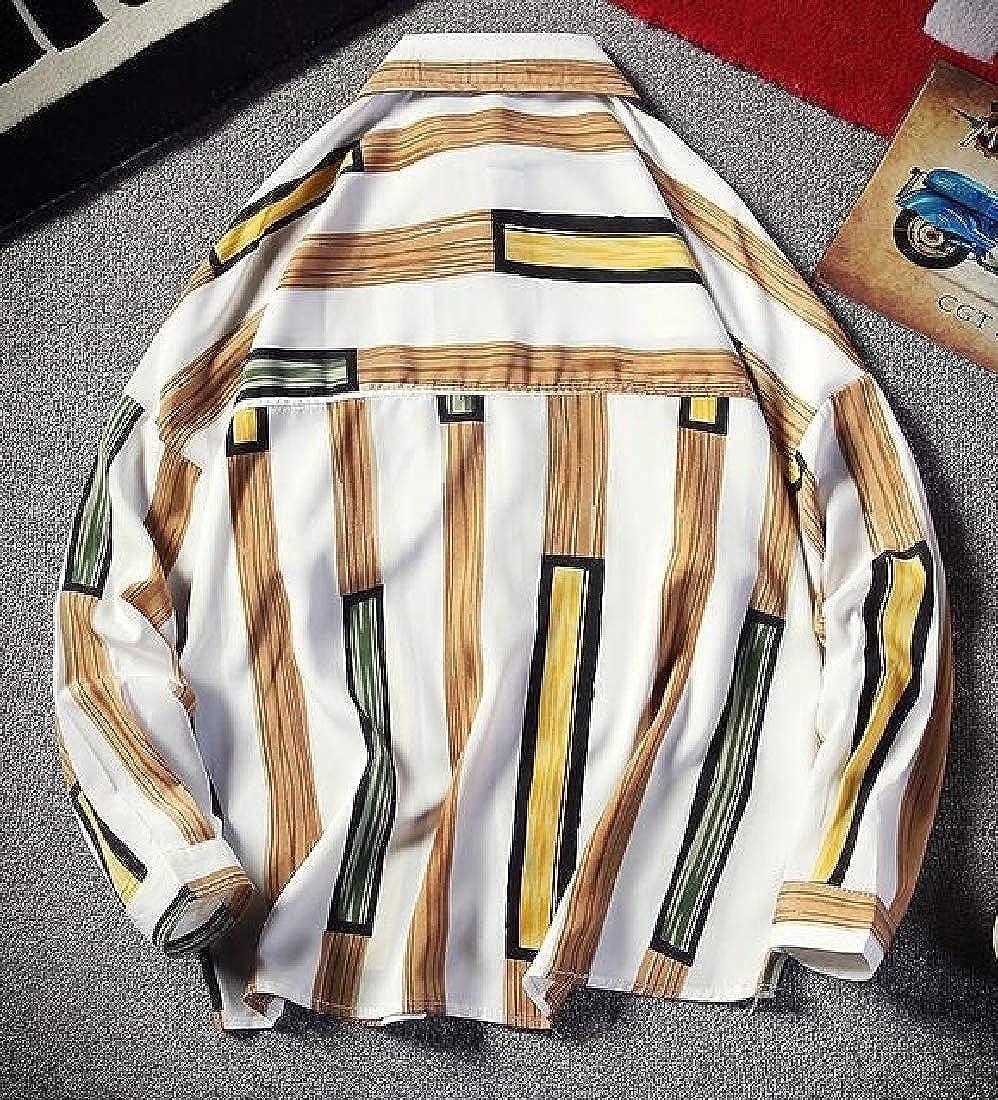 ZXFHZS Mens Color Block Long Sleeve Button Down Casual Slim Fit Shirt