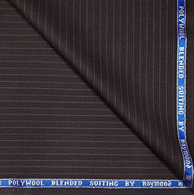 76d2a1e84 Raymond 45% Merino Wool Brown Stripes Unstitched Blazer Fabric - 2.50 metres