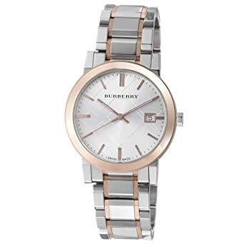 a9aca3a0147 Image Unavailable. Image not available for. Color  Burberry Men s BU9006  Large Check Two Tone Stainless Steel Bracelet Watch