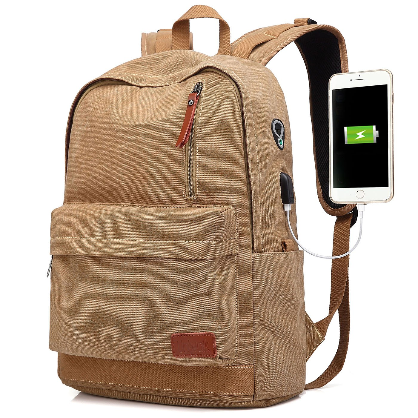 Canvas Laptop Backpack, Waterproof School Backpack With USB Charging Port For Men Women, Lightweight Anti-theft Travel Daypack College Student Rucksack Fits up to 15.6 inch Computer (Brown)