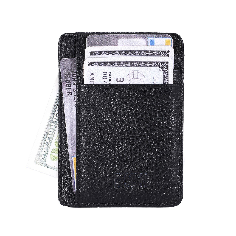 IVESIGN Slim Front Pocket Wallet RFID Blocking Credit Card Holder With ID Window (Black)