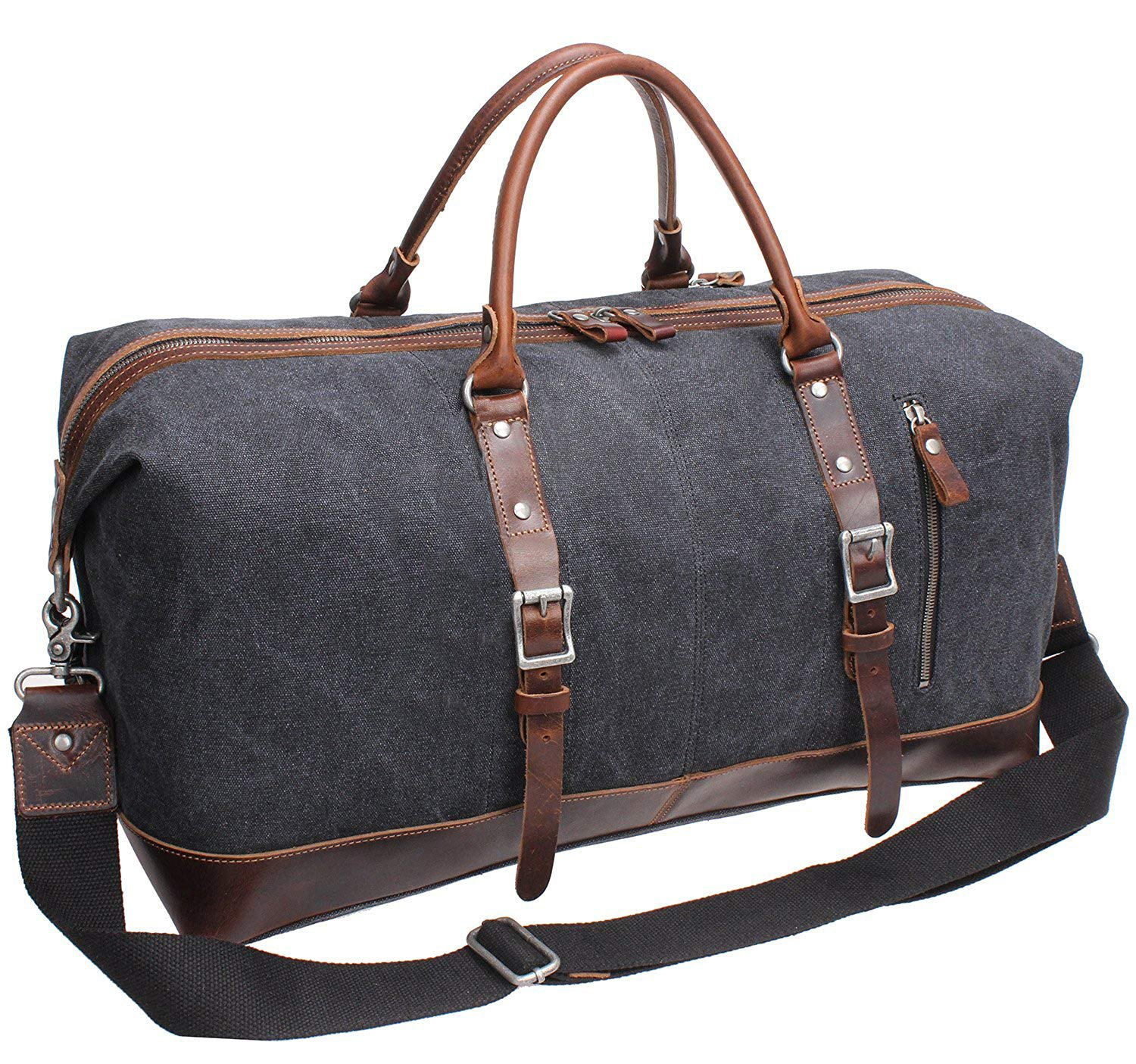 Iblue Vinatge Leather Weekender Travel Bag Mens Duffel Bag Canvas B003(Xl 21'', Grey) #B003 grey XL 21''