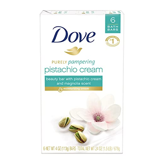 Dove Purely Pampering Beauty Bar, Pistachio Cream with Magnolia 4 oz, 6 Bar
