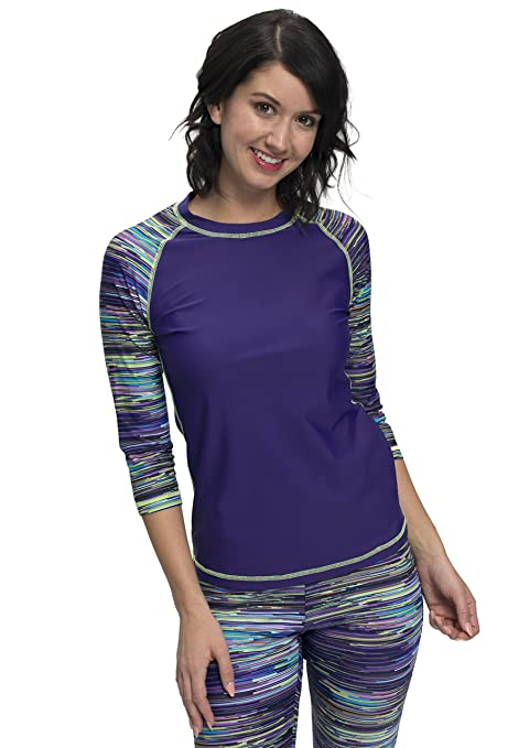 ae9c2d854a HydroChic Womens Baseball Babe Inspired 3/4 Sleeve Rash Guard Swim Shirt:  Amazon.ca: Clothing & Accessories
