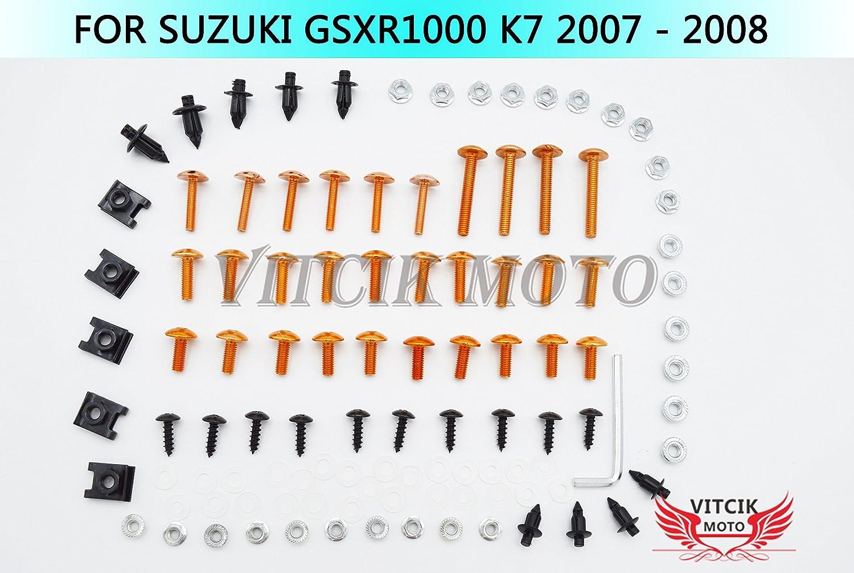 VITCIK Kit Completo de Tornillos y Pernos de Carenado para Suzuki GSXR1000 K7 2007 2008 GSXR 1000 K7 07 08 Clips de Sujeció n en Aluminio CNC de La Motocicleta (Rojo & Plata)