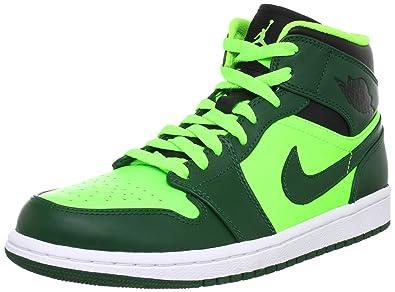 3b4166e465d Jordan Nike Air 1 Mid Mens Basketball Shoes 554724-330 Gorge Green-Black-