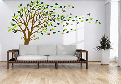 Large Tree Blowing In The Wind Tree Wall Decals Wall Sticker Vinyl Art Kids  Rooms Teen