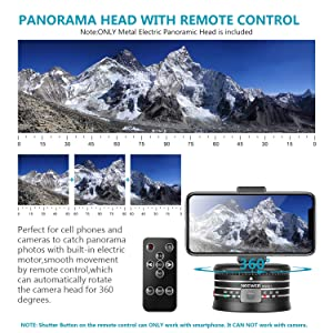 Neewer Electric Panoramic Tripod Head for Time Lapse Shooting with Variable Speed and Direction, Built-in Rechargeable Battery and Remote Control for Smartphone DSLR Camera GoPro(Adapter Not Included) (Color: Electric Panoramic Head)