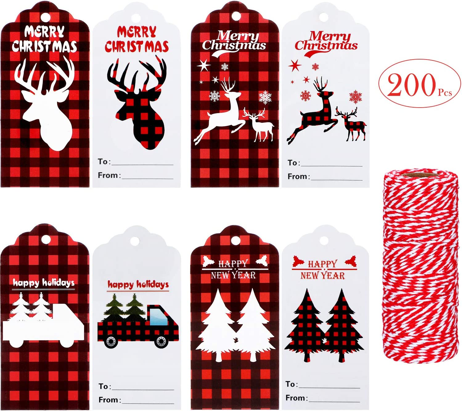 Amazon Com 200 Pieces Christmas Buffalo Plaid Tags Craft Paper Tags Hang Labels With 164 Feet Red And White Twines For Package Name Card Christmas Holiday Wrap Party Favors 4 Styles Arts Crafts