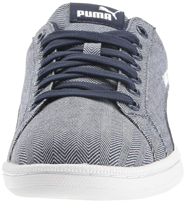 Unisex Adults Smash Herringbone Low-Top Sneakers, Schwarz/Komb Puma