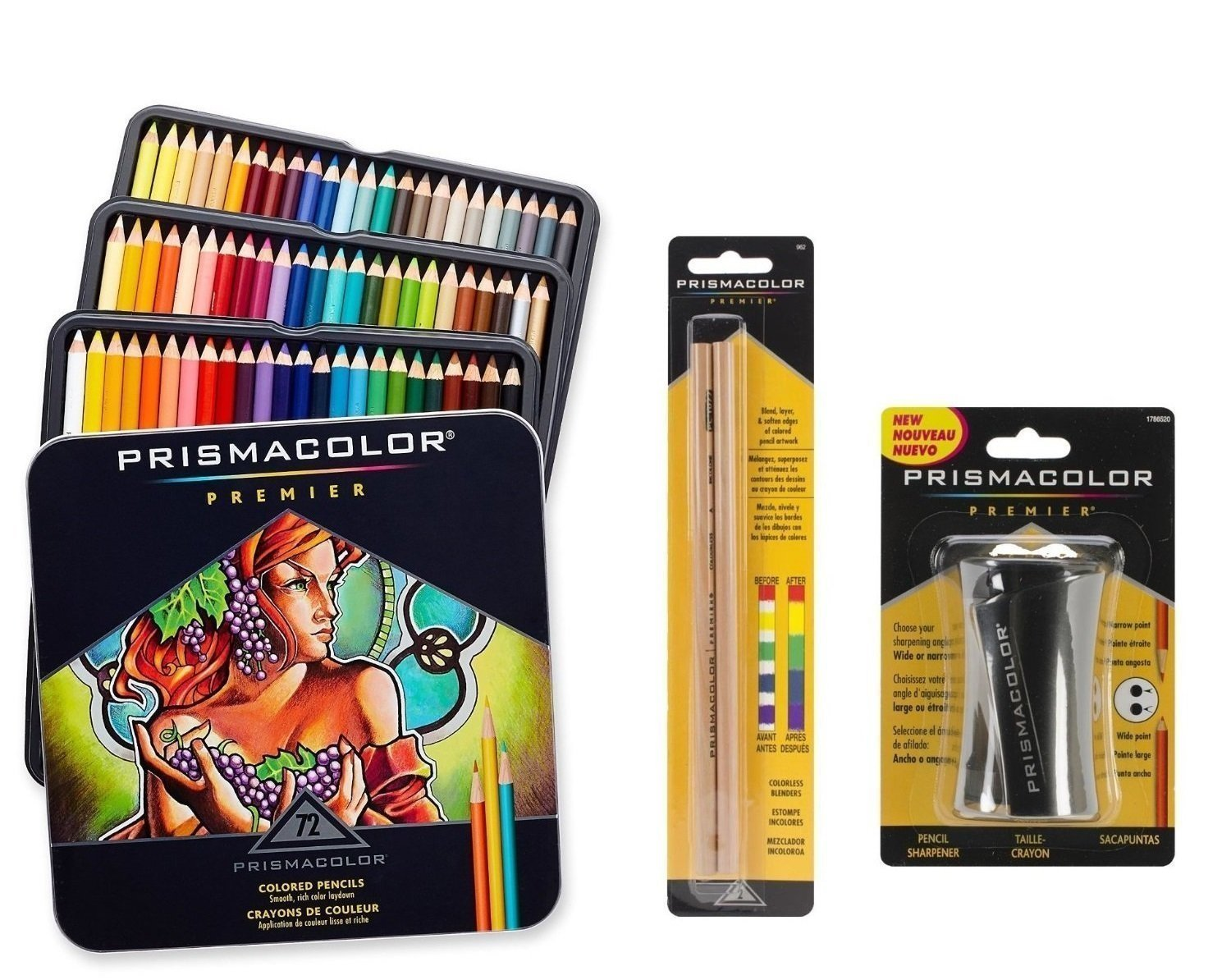 Prismacolor Premier Colored Pencil and Accessory Set, Set of 72 Premier Colored Pencils, One Premier Pencil Sharpener, and a 2-pack of Prismacolor Premier Colorless Blender Pencils