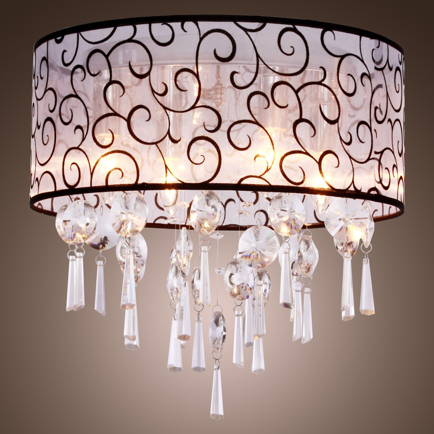 shade chandelier fabric simple modern pendant crystal ceiling lights lamp drum for dp maxmer light