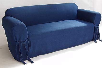 Amazon Com Classic Slipcovers One Piece Sofa Denim Slipcover Blue