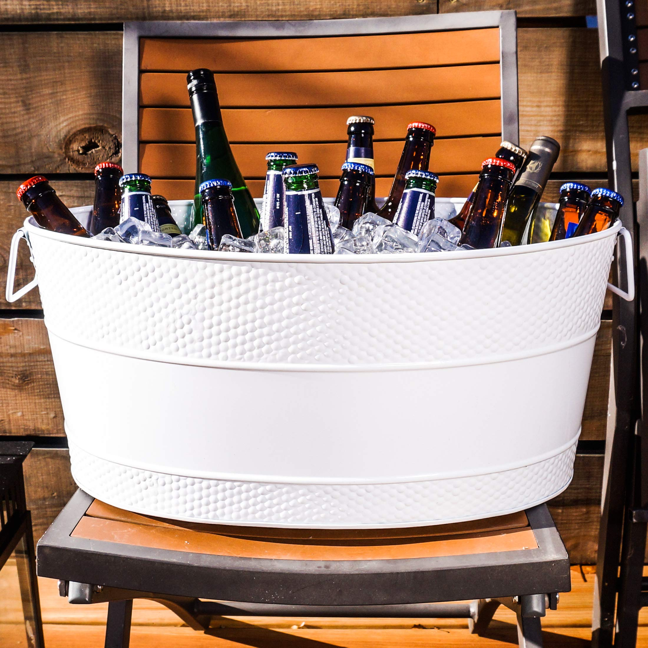 BREKX White Aspen Hammered Galvanized Beverage Tub W/Iron Stand - 25 Quart