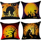 Happy Halloween Black Cat Home Decor Throw Pillow Case Cushion Cover 18 x 18 Inch Cotton Linen Set of 4,By 4TH Emotion