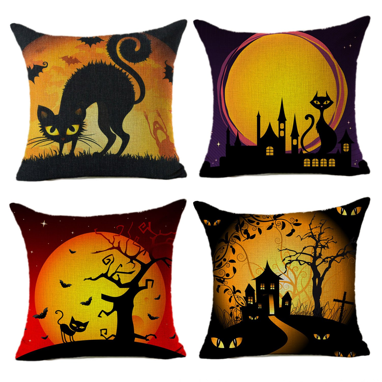 Halloween Pillow Covers Black Cat Home Decor Throw Sofa 18& 034