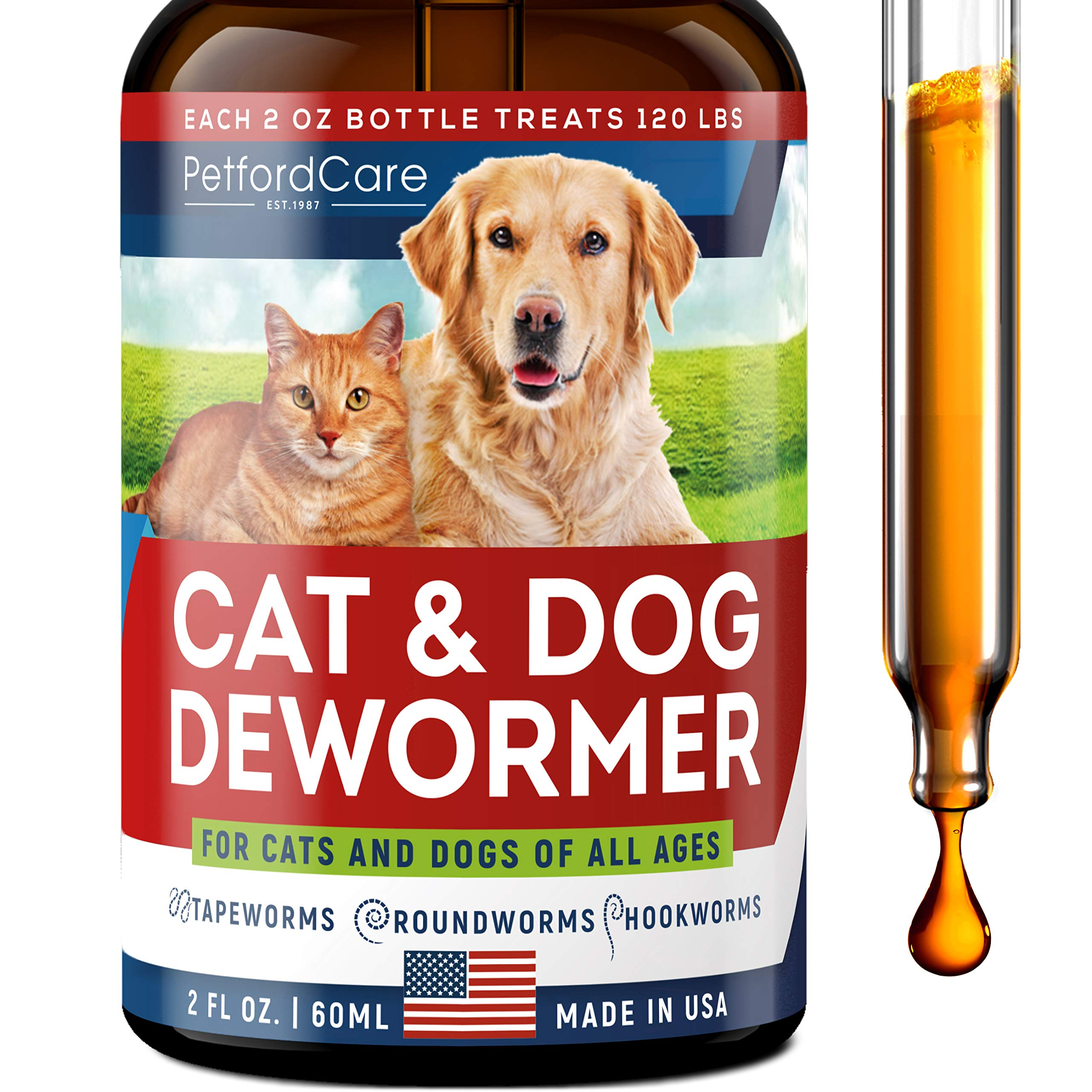 Dewоrmer for Dogs & Cats - Made in USA - Dewоrmer for Puppies, Kittens, Small & Large Breeds - Powerful Canine Dewоrmer for Hookwоrm, Roundwоrm, Tapewоrm - Liquid Cat Wоrmer with MAX Absorption by Petford est. 1987