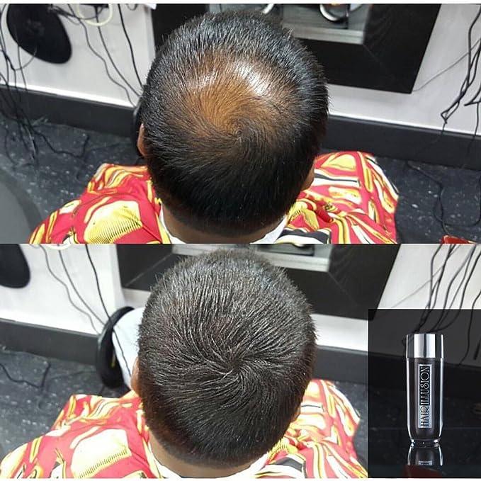 Hair Illusion: Polvo de cobertura cabello natural contra caída de pelo, para hombres y mujeres, pelo natural 100%, 18g, Negro: Amazon.es: Belleza