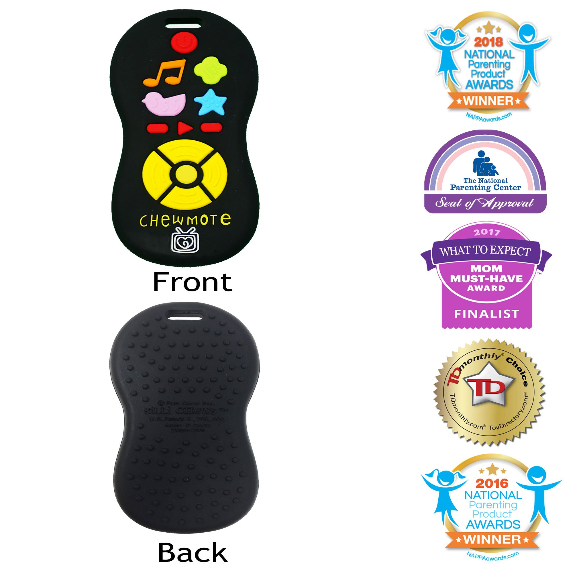 Silli Chews Unisex TV Remote Control Toy Chewmote Favorite Baby Teether Infant Silicone Teething Toy Black Chew Toys