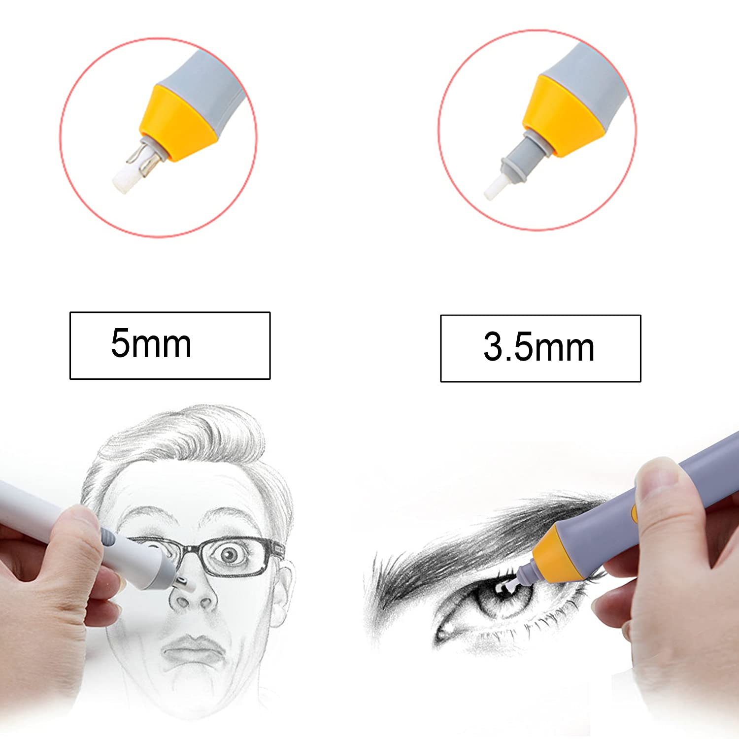 Painting Electric Eraser Battery Operated Pencil Auto Eraser for Artist Drawing Sketching Drafting(Black)