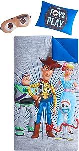 "Disney Pixar Toy Story 4 Giftable Sleepover Set with Sleeping Bag, Pillow & Bonus Eye Mask, Ages 3+, 26""x46"", Multicolor"