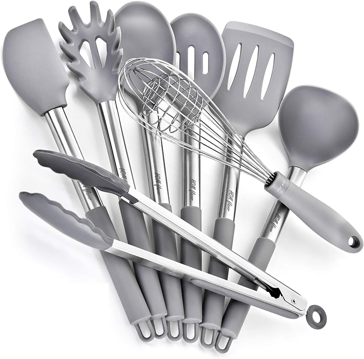 8x Silicone Cooking Utensils Kitchen Utensil Tools Set Non-Stick Stainless Steel